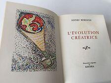 Livre Collection Prix Nobel Littérature 1927 HENRI BERGSON L'EVOLUTION CREATRICE