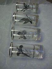 "4 Game Bird Clear Glass Tumblers/Silver Edge/Grouse/Goose/Pheasant...6"" Tall"
