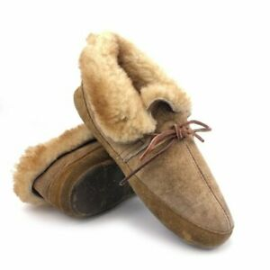 L.L. Bean Wicked Good Moccasin Slippers Womens Size 6M Brown Leather Sheepskin