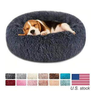Soft Pet Dog Bed Round Winter warm Long Plush Dog House Sofa Donut