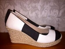 J CREW Platform Wedges Canvas BLACK & WHITE Block HIGH HEELS Womens Shoes Sz 8.5