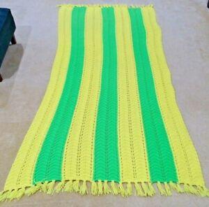Vintage Afgan Blanket Green & Yellow with Tassels Homemade 8' x 4'