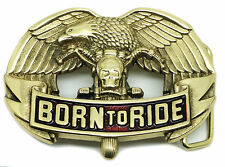 Biker Belt Buckle Motorcycle & Eagle Born To Ride Brass Authentic Baron Buckles