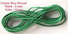 10 metros Verde Cordón De Algodón Encerado 2mm hilo de cadena de fabricación de joyas Artesanías