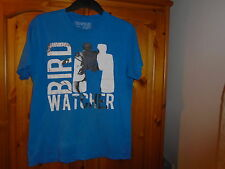 Men's blue round neck Bird Watcher print t-shirt, NEW LOOK, size Medium