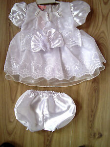 Baby White Christening Bridesmaid Party Satin Dress/Hat/Knickers,3-6, 6-9 months