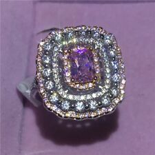 925 Silver Pink Sapphire Ring Wedding Bridal Women Charming Jewelry Size 5-10