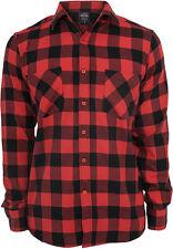 Urban Classics - franela a cuadros camiseta camisa de hombre rojo negro m