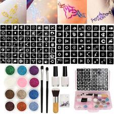 111 Pochoir + 12 Poudre Glitter Paillette Tatouage Temporaire Peinture Body Art