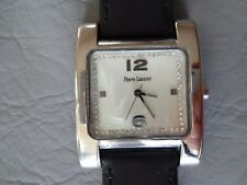 PIERRE LANNIER FRANCE MONTRE BRACELET CUIR RECTANGLE STRASS NACREE FEMME WATCH