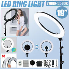 "Dimmable Diva LED Ring Light Diffuser Mirror WITH Stand Make Up Studio 19"" 5600K"