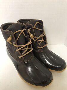 WOMENS SPERRY SALTWATER DUCK BOOTS, BROWN LEATHER/RUBBER, SIZE 8.5M