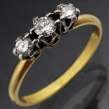 Older Style Across DIAMOND Trilogy 18k Solid Yellow GOLD ETERNITY RING Mid Sz N