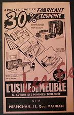 Publicité ancienne USINE DU MEUBLE TOULOUSE PERPIGNAN 1964