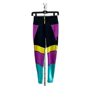 I Want My ZUMBA High Waisted Leggings Purple Power SMALL Spicy Purple Black