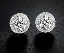 "18K White Gold Studs Round Cut ""Eternal"" 0.5ct. CZ Cubic Zirconia Earrings"