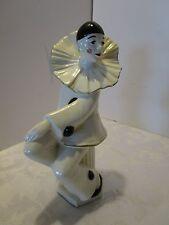 """Art Deco Harlequin Clown Pierrot Ceramic Figurines 10""""T Care Inc. 1979 Vintage"""