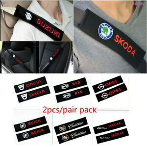 1Pair Car seat belts padding embroidery pattern cotton fit for All Car styling