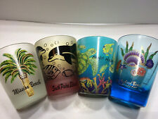 [COL] Lot of 4 Beaches Shot Glasses - Mission, South Padre, Bahia, & Old Orchard