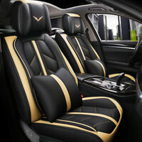 Luxury Beige PU Leather Car Seat Covers Protector Cushions Universal 5-Seats Set