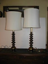 Vintage Pair Ethan Allen Candlestick Table Lamps Solid Brass Great Shades