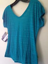 "NWT Smartwool Women's Merino Wool ""Burnout"" Reversible Knit Tee Capri Blue Top M"