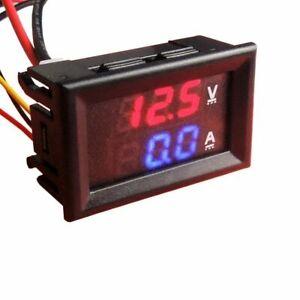 DC 100V 100A Dual Digital Blue Red LED Display Current Voltmeter Ammeter Multime