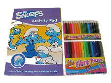 THE SMURFS color / Para Colorear libro de actividades Pad & 16 Rotuladores & 16