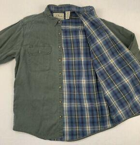 ll bean flannel plaid lined hurricane canvas button down work shirt sz medium