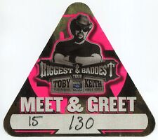 TOBY KEITH 2008 Biggest And Baddest Tour Backstage Pass!!!