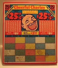 "VTG 1930s  Gaming Punch Board.""Cheerful Charley "" Smiley Face Man.UNUSED #9106"
