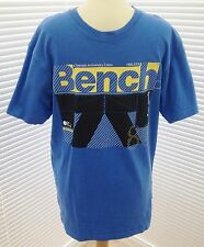 """BENCH"" MENS BLUE T-SHIRT, LARGE LOGO TO FRONT, SIZE:S - USED"