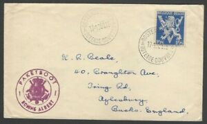 Belgium 1951 Ostend Dover ship cover KONING ALBERT