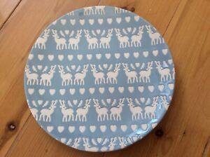 "NEW Joyye Stoneware. Blue/White Christmas Reindeer/Hearts   20cm / 8"". Teaplate"