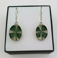 925 STERLING SILVER LUCKY 4 FOUR LEAF CLOVER DANGLE DROP OVAL EARRINGS + BOX