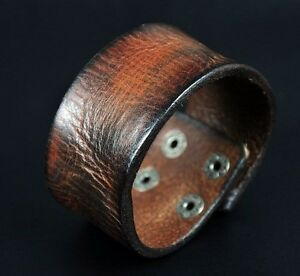 S310 Vintage Texture Genuine Leather Bracelet Wristband Men's Wide Cuff BROWN LT