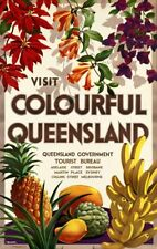 Vintage Illustrated Travel Poster CANVAS PRINT Colourful Queensland A3