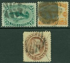 EDW1949SELL : NEWFOUNDLAND 1865-94 Scott #24, 29, 30 Used Sound stamps. Cat $190