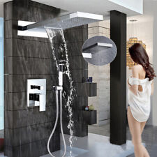 LED Waterfall Rainfall Shower Faucet Chrome with Handheld shower 3 ways Mixer