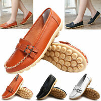 Womens Ladies Soft Leather Work Casual Ballet Slip On Loafer Flat Shoes EUR35-41