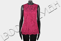 DOLCE & GABBANA 1395$ Authentic New Pink Silk & Cotton Blend Floral Lace Top