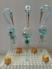 10pc Glass Stork with Baby Boy, Baby Shower Birthday,Baptism,keepsake Favor blue