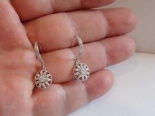 925 STERLING SILVER LADIES DROP/DANGLE  EARRINGS W/ .60 CT DIAMONDS/ NEW DESIGN!