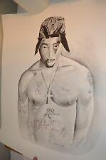 Tupac Classic Thug Life Portrait Sketch 90s Rap Hip Hop 20x24 ART PRINT POSTER