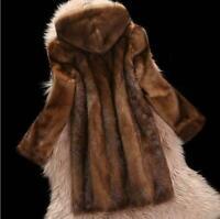 Ladies Genuine Mink Fur Long Coats Lapel Thicken Winter Jacket Warm Women