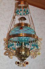 RARE Victorian Bradley Hubbard Jeweled Hanging Library Kerosene Oil Lamp