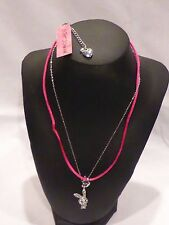 Authentic Betsey Johnson Crystal Bunny Charm Double Chain Necklace NWT $30