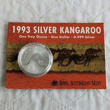 Australia 1993 1oz $1 .999 Fine Silver CANGURO-RAM scheda di presentazione