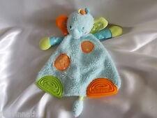 Doudou éléphant bleu, orange et vert, anneaux de dentition, plat, Babysun