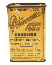 "Antique 1920s Wm. Peterman Moth Food Poison Lithograph Tin Can 2 oz. 3.5"" Tall"
